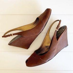Prada Leather Brown Wedges Gold Trim 9.5